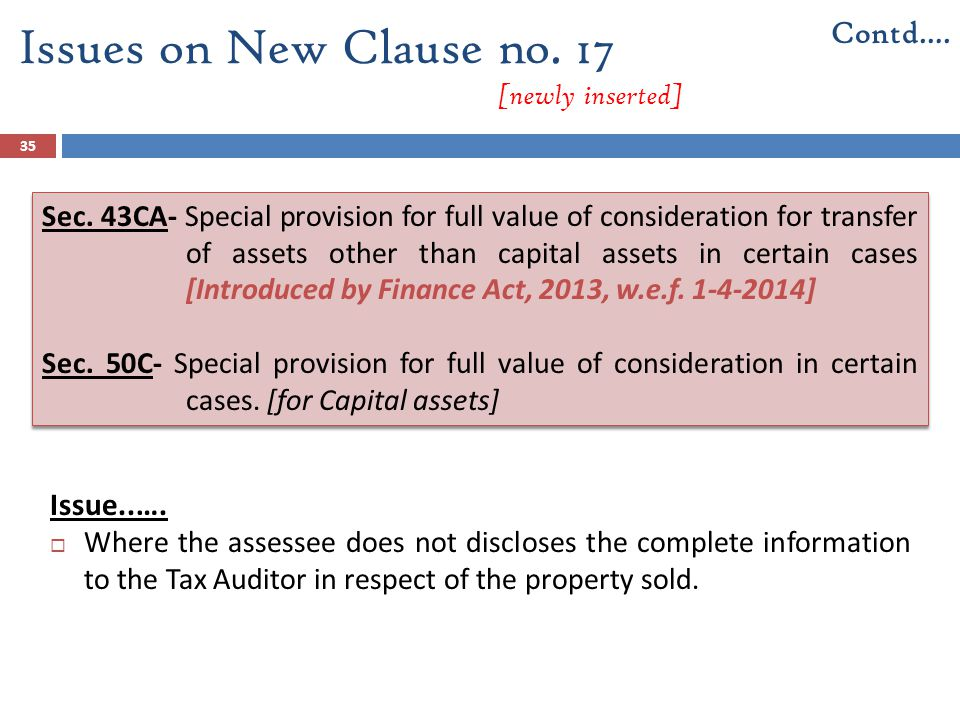 Issues on New Clause no. 17 [newly inserted]
